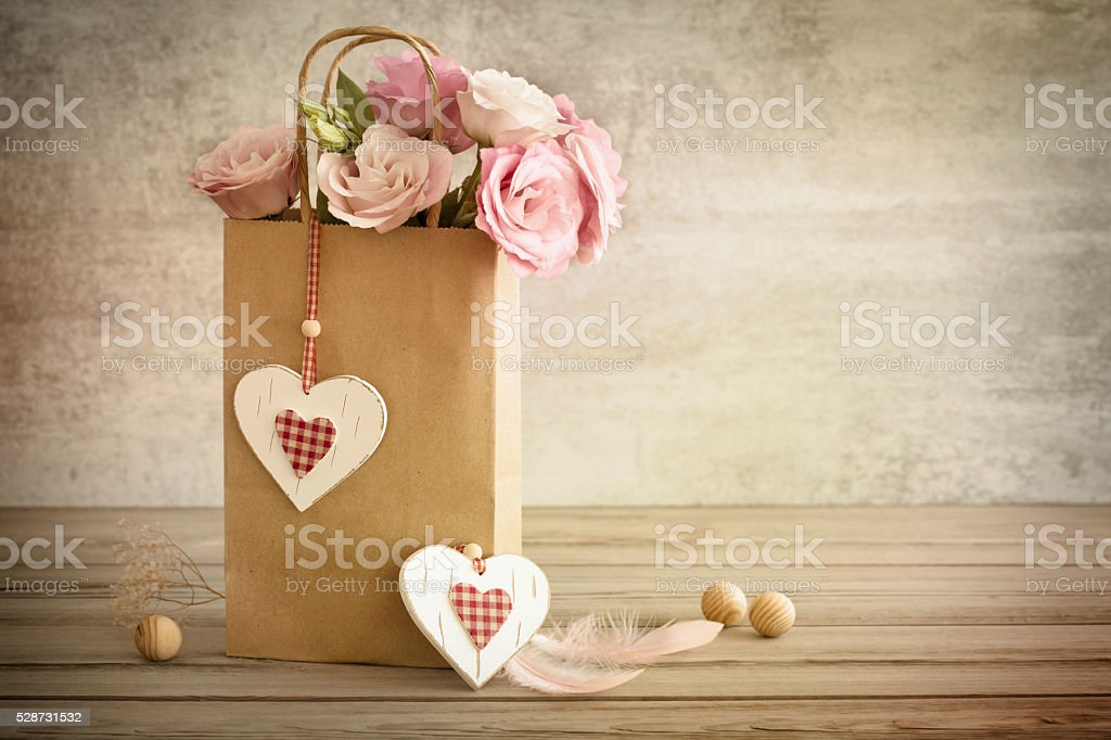 Romantic still life background with hand made hearts, vintage to stock photo