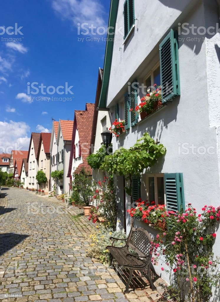 Romantic street in old medieval town in Germany stock photo