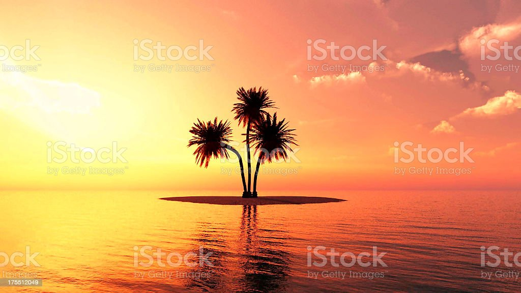 Romantic summer beach sunset stock photo
