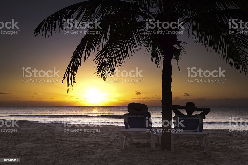 Romantic Sunrise Over Riviera Maya Mexico on the Caribbean Sea royalty-free stock photo