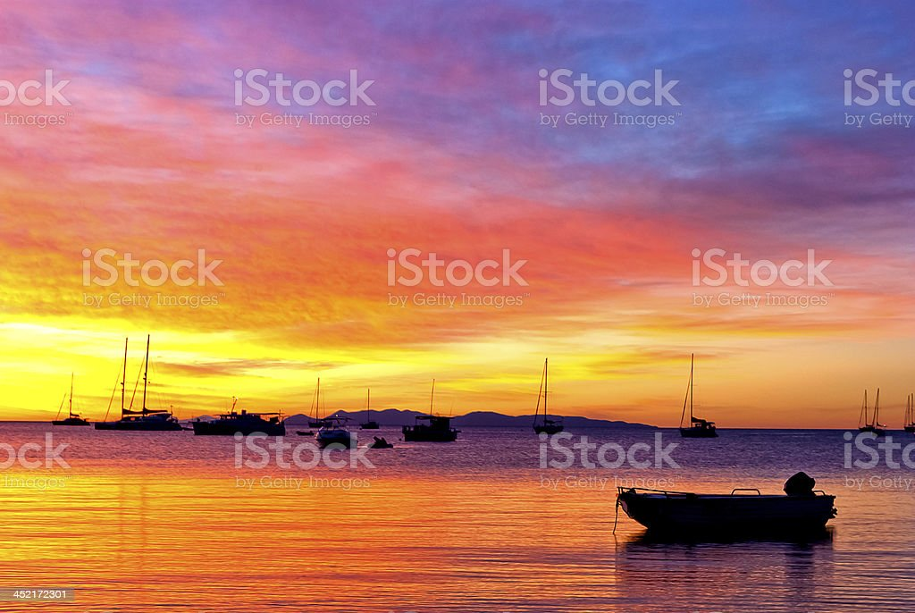 Romantic sunset on the ocean with beautiful colors stock photo