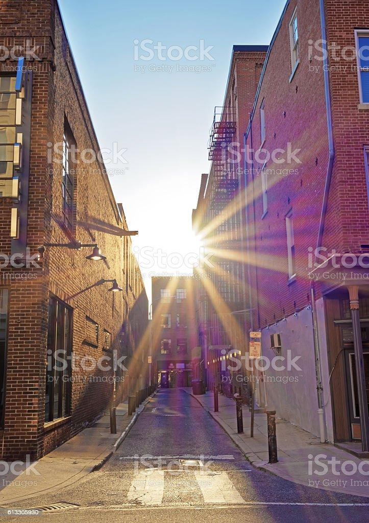 Romantic sunset seen between the buildings in Philadelphia stock photo