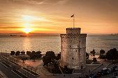 Romantic sunset watching the White Tower of Thessaloniki
