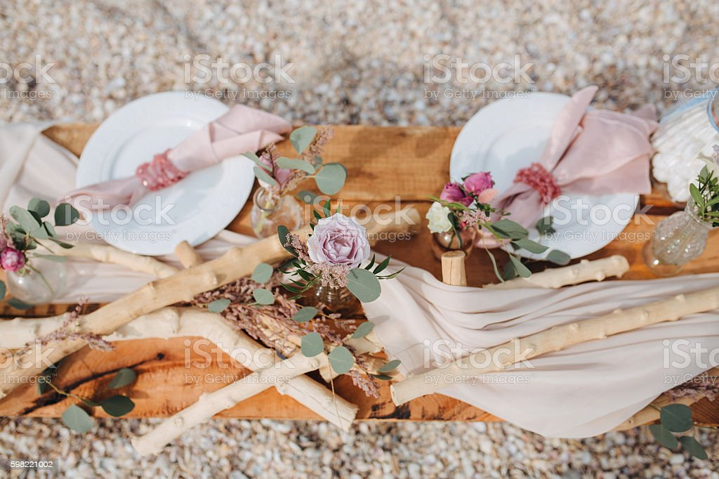Romantic table setting rustic style stock photo