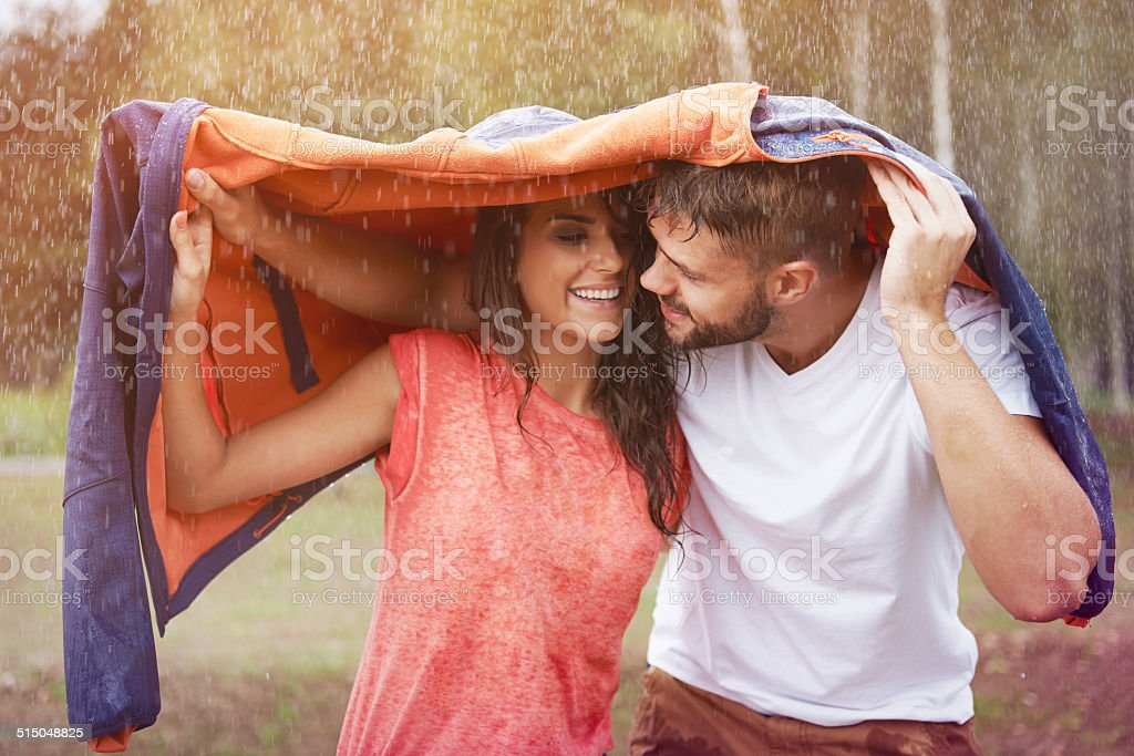Romantic time in the rain stock photo