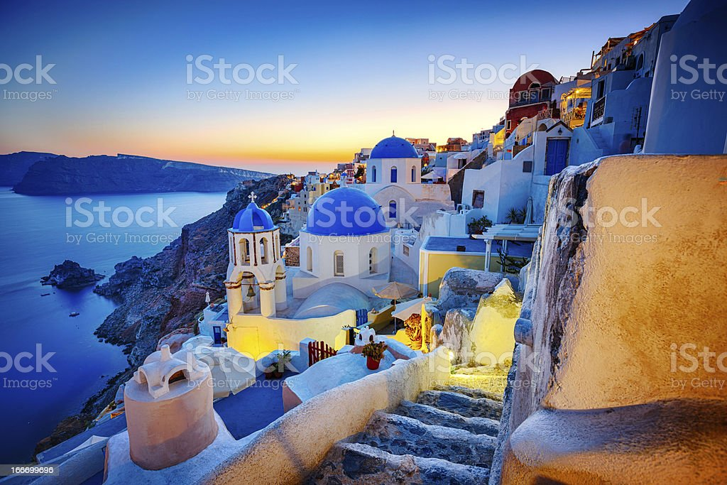 Romantic travel destination Oia village, Santorini island, Greece stock photo