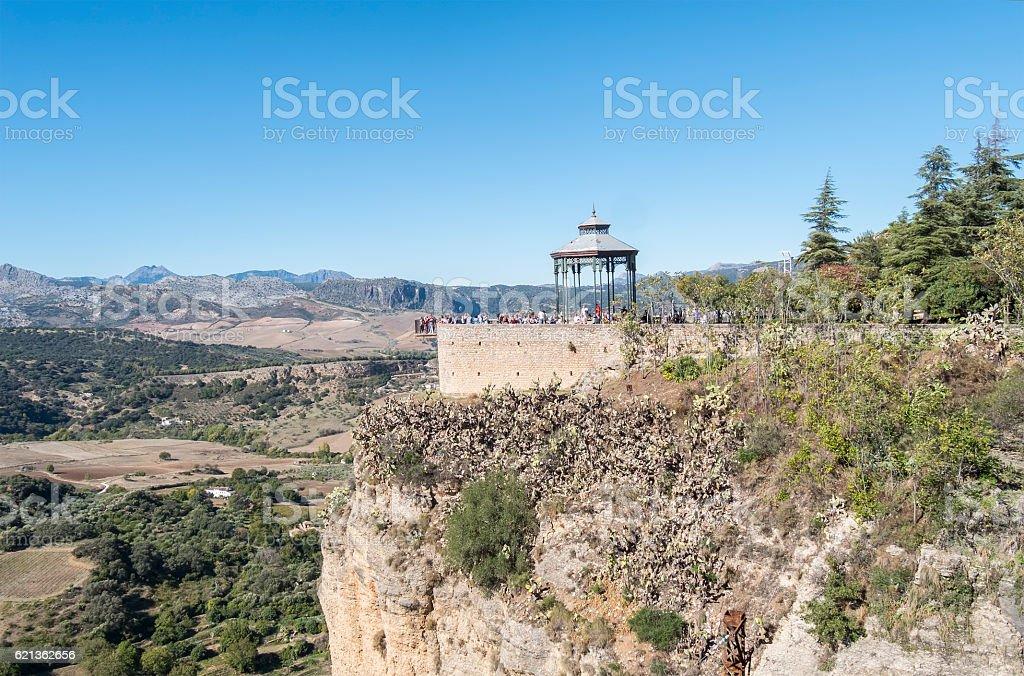 Romantic travellers viewpoint, Ronda, Malaga, Spain stock photo