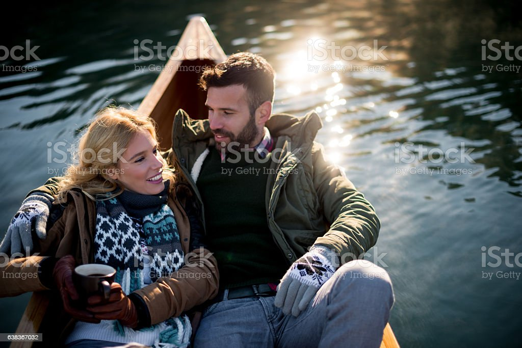 Romantic trip on a boat stock photo