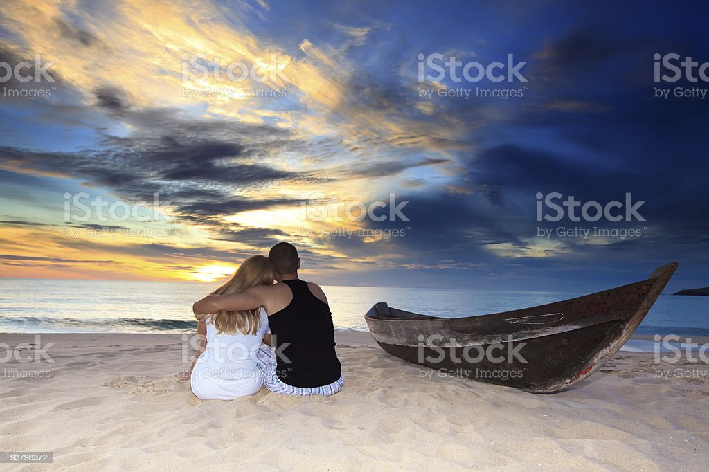 Romantic uninhabited island stock photo