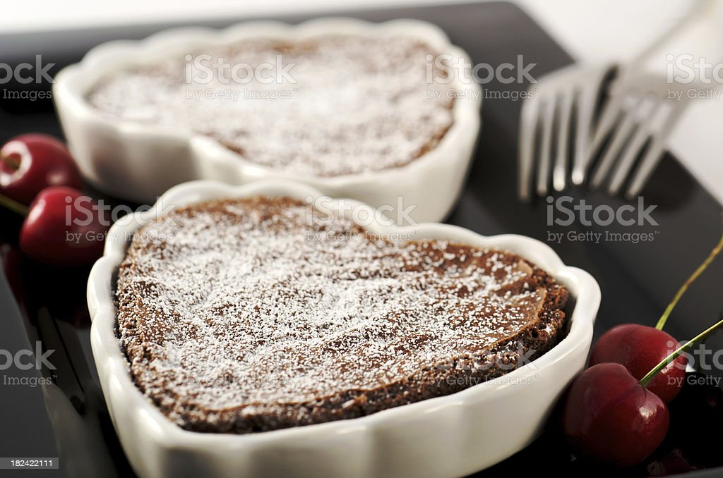 Romantic Valentine Chocolate Heart Dessert for Two royalty-free stock photo