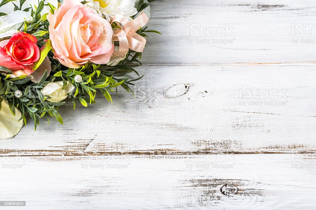Romantic valentine day background with roses. stock photo