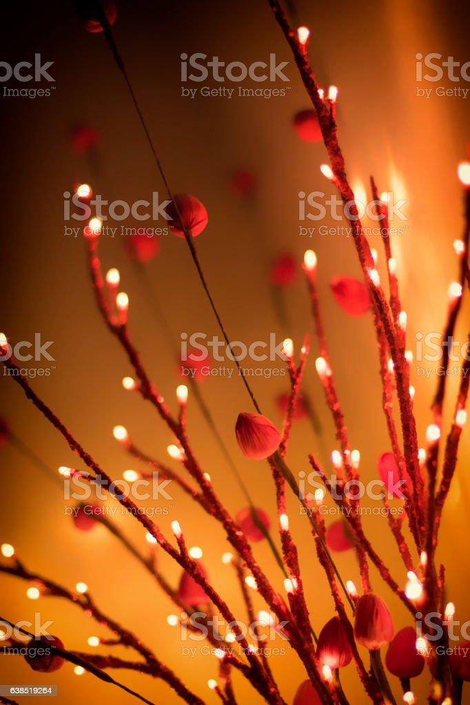 Romantic valentine mood lighting - simplified red flowers stock photo