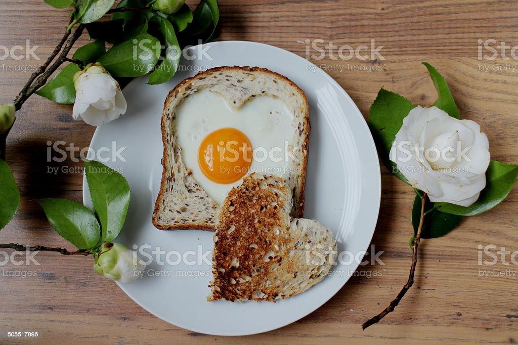 Romantic Valentine's day breakfast stock photo