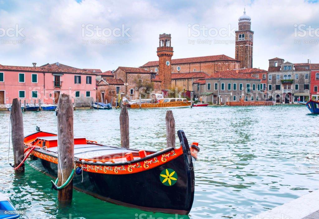 Romantic Venice scenery with gondola boat stock photo