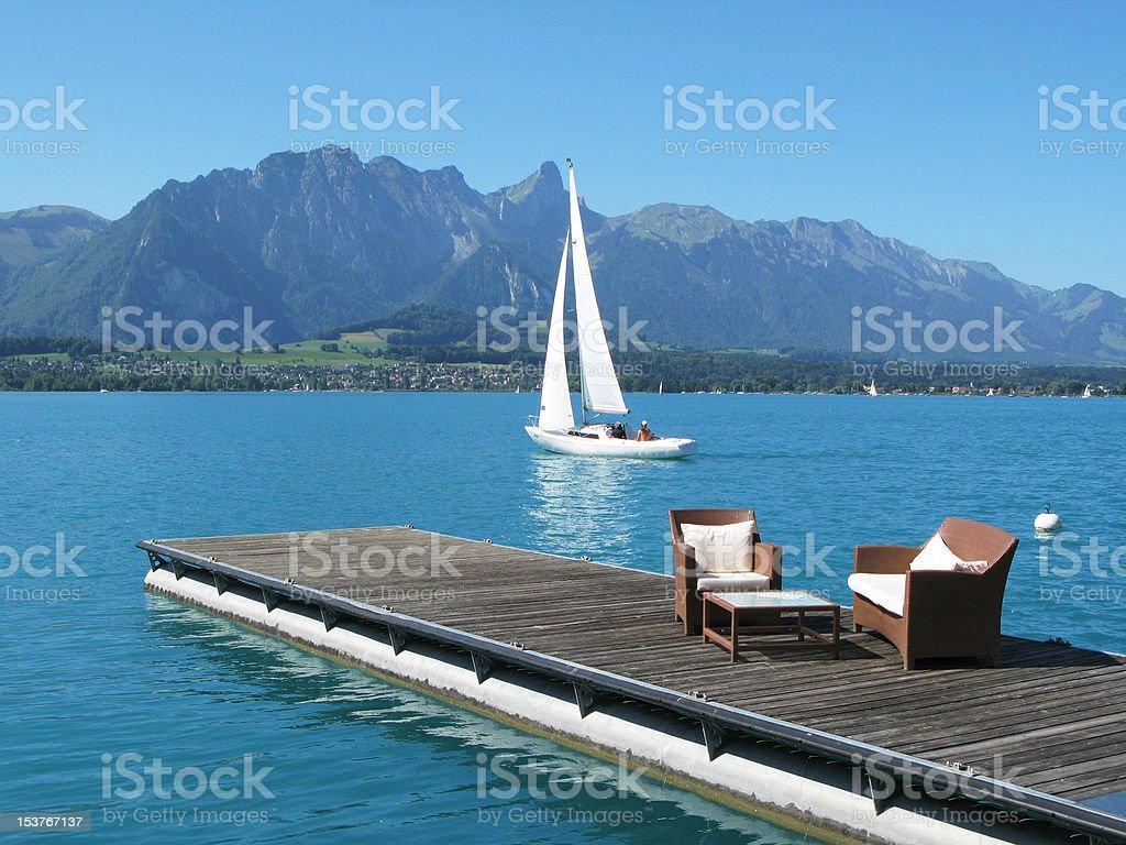 Romantic view to the lake Thun, Switzerland royalty-free stock photo