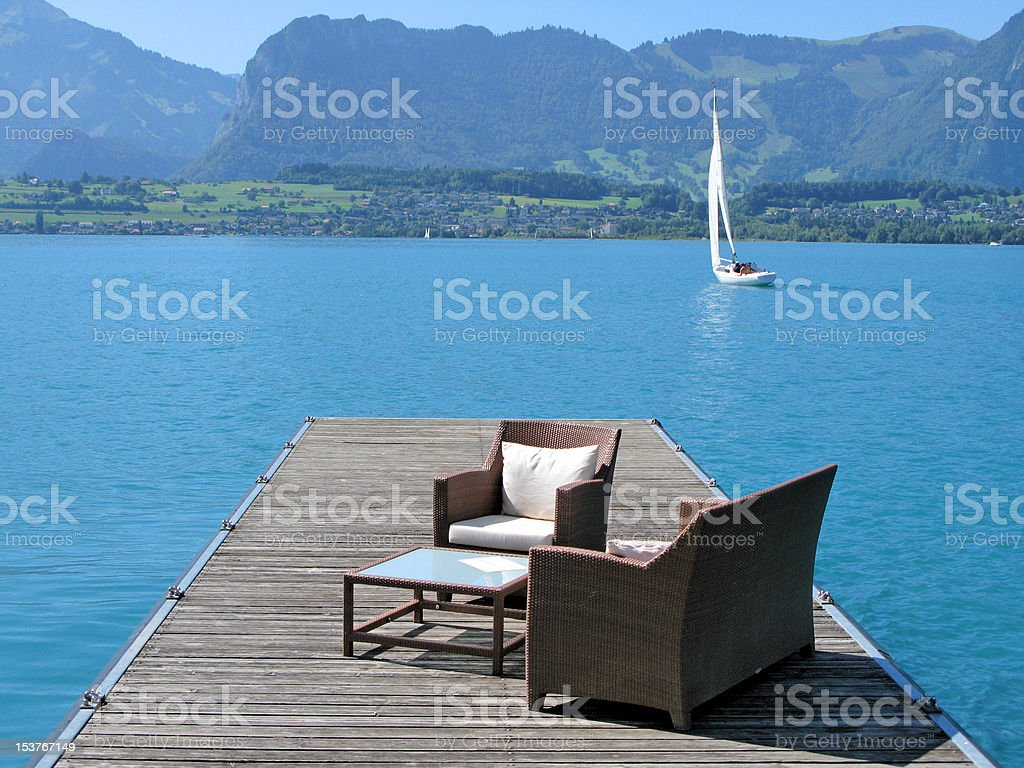 Romantic view to the lake Thun, Switzerland stock photo