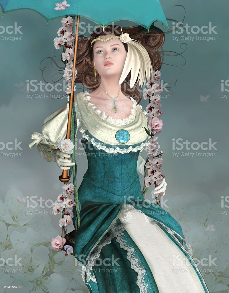 Romantic vintage girl stock photo