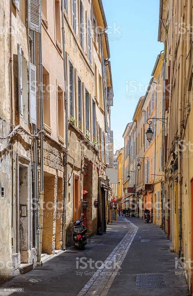 Romantic vintage tiny street in Aix-En-Provence stock photo