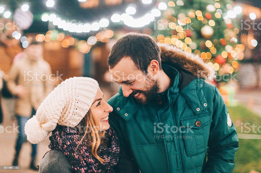 Romantic walk on Christmas Eve stock photo