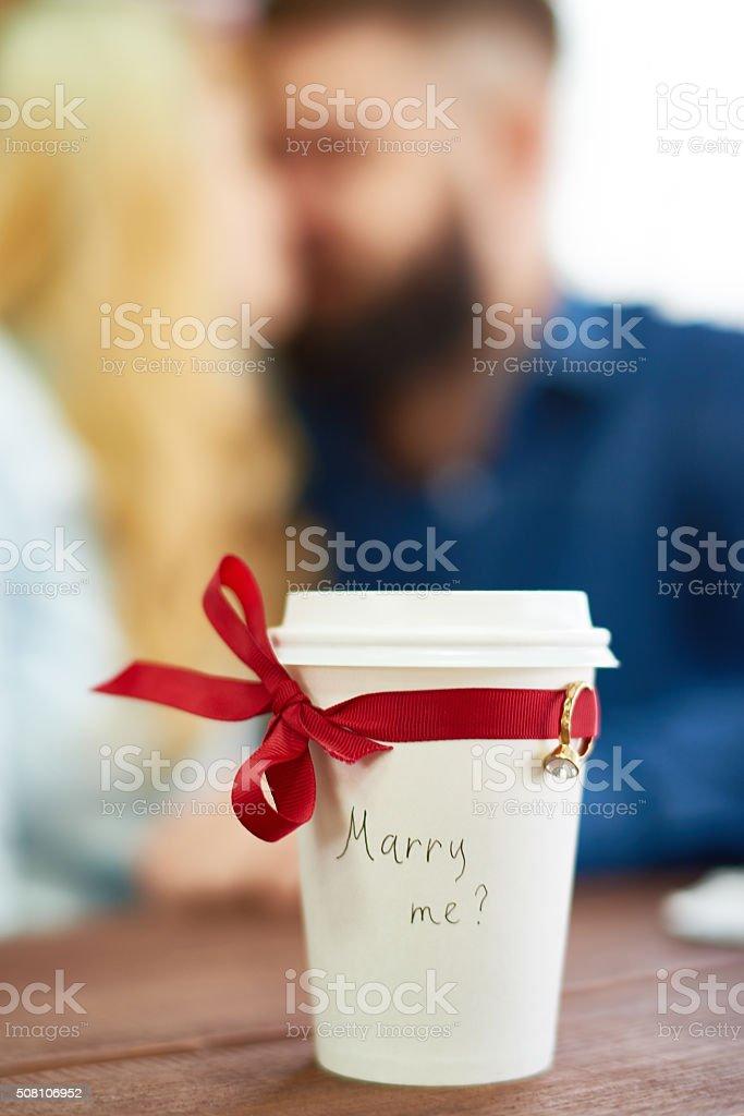 Romantic way to propose stock photo