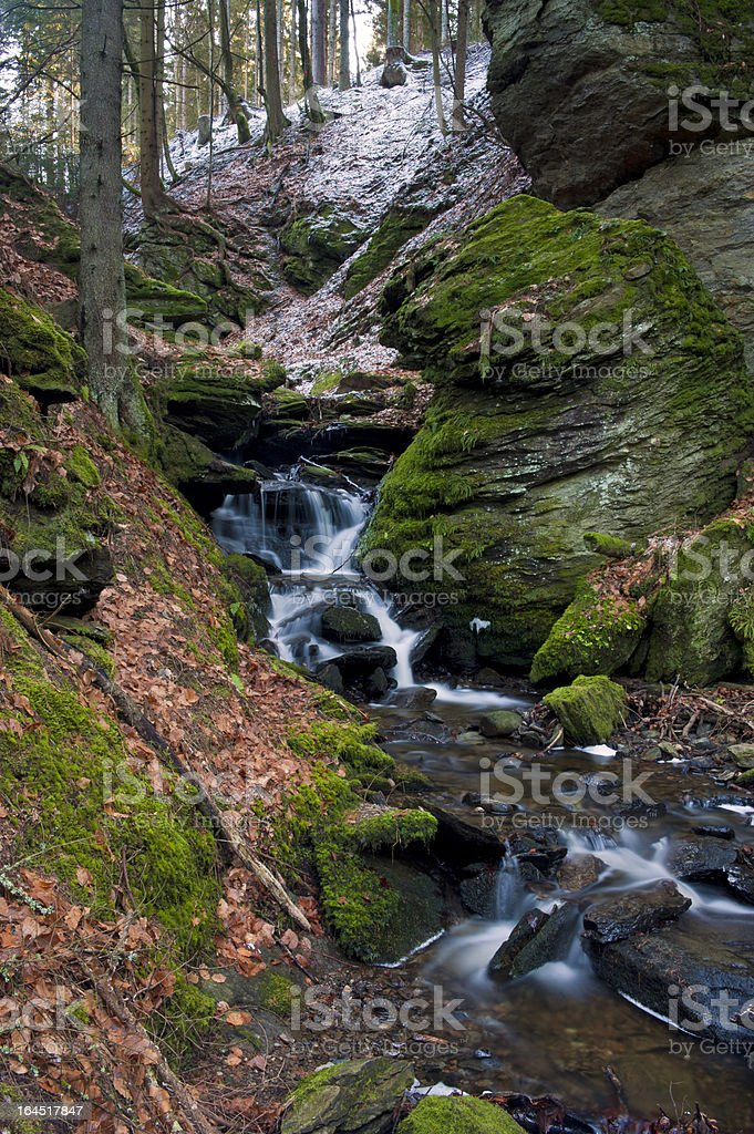 Romantic whitewater stream in early winter royalty-free stock photo