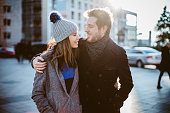 Romantic winter vacation in city
