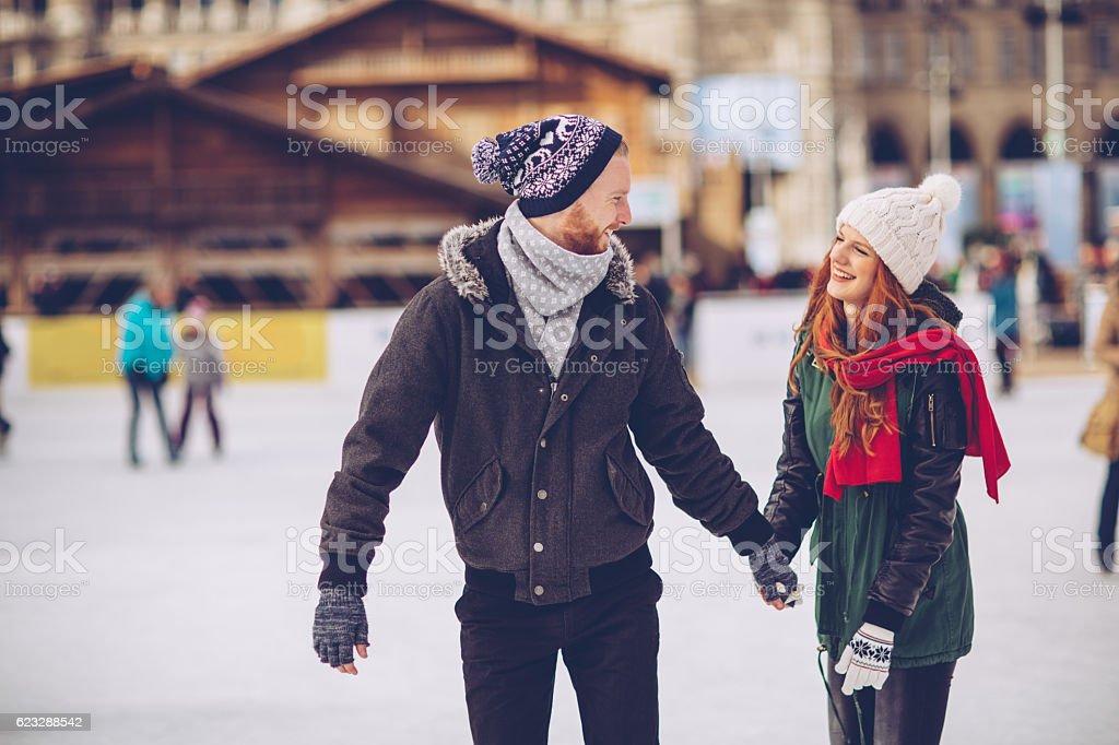 Romantic winter vacation stock photo