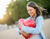 Romantic woman celebrating Valentine's Day