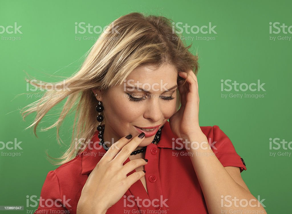 Romantic woman in red stock photo