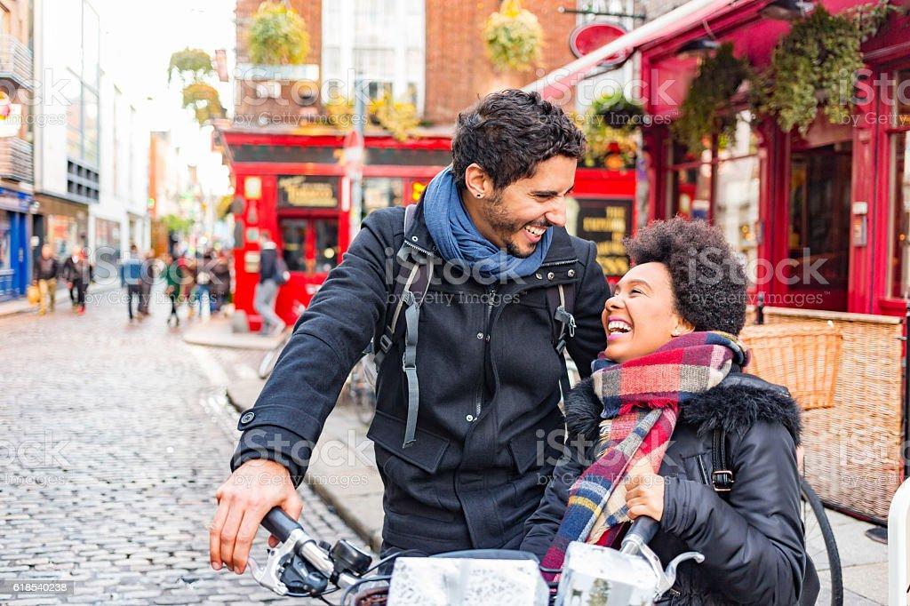 Romantic Young Couple Christmas Shopping in Temple Bar Dublin Ireland stock photo