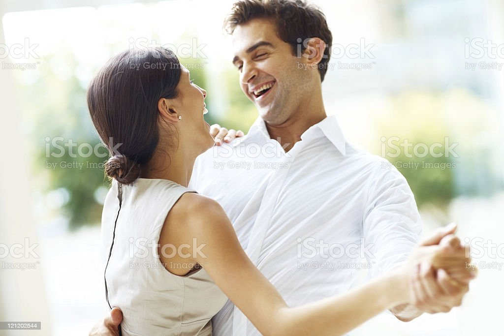 Romantic young couple dancing royalty-free stock photo