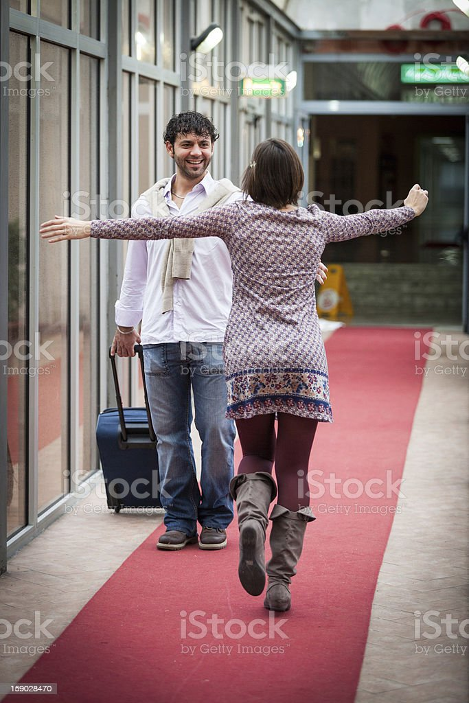 Romantic Young Couple Met after Long Time royalty-free stock photo