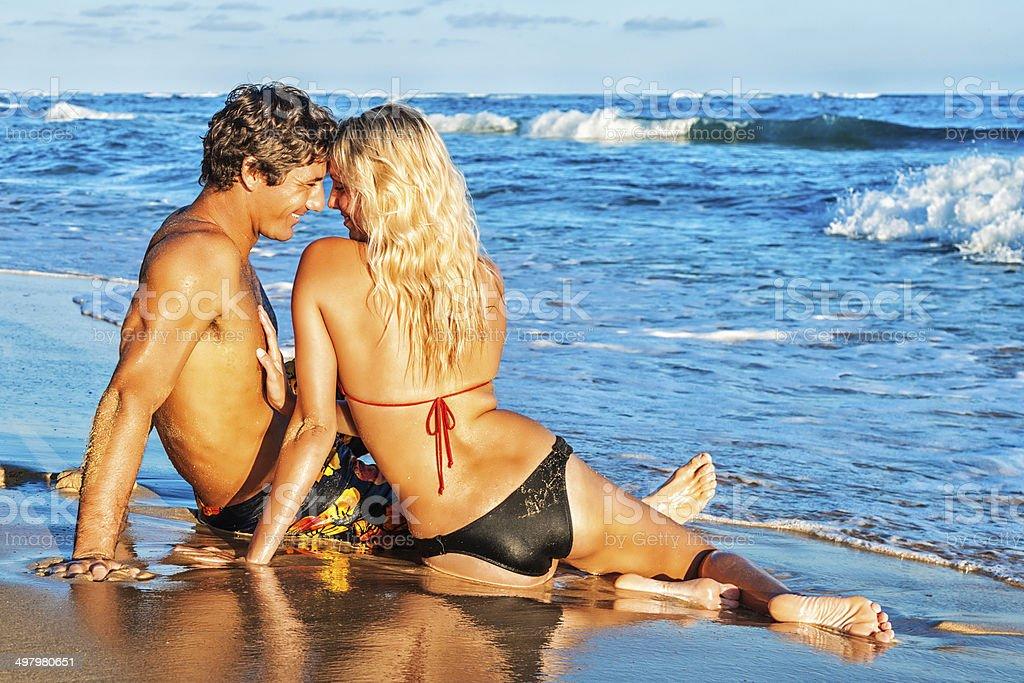 Romantic Young Couple on Hawaiian Beach stock photo
