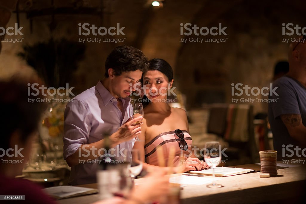 Romantic Young Couple Together in Winery stock photo