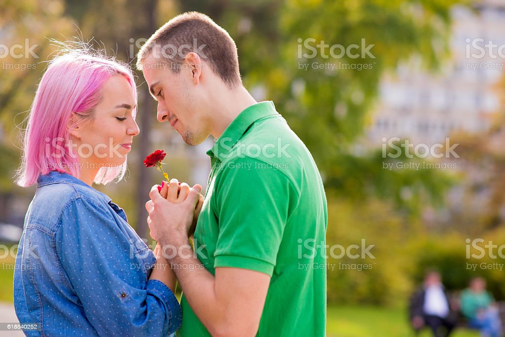 romantic - young man giving a rose to his girlfriend stock photo