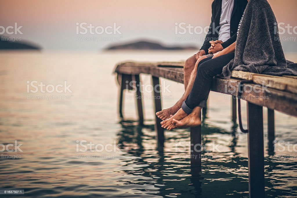 Romantics on the dock stock photo