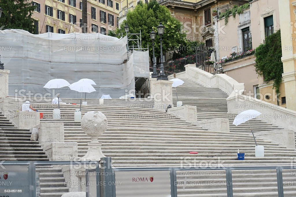 Rome 17 June 2016. Stuff working Spanish Steps restoration. stock photo