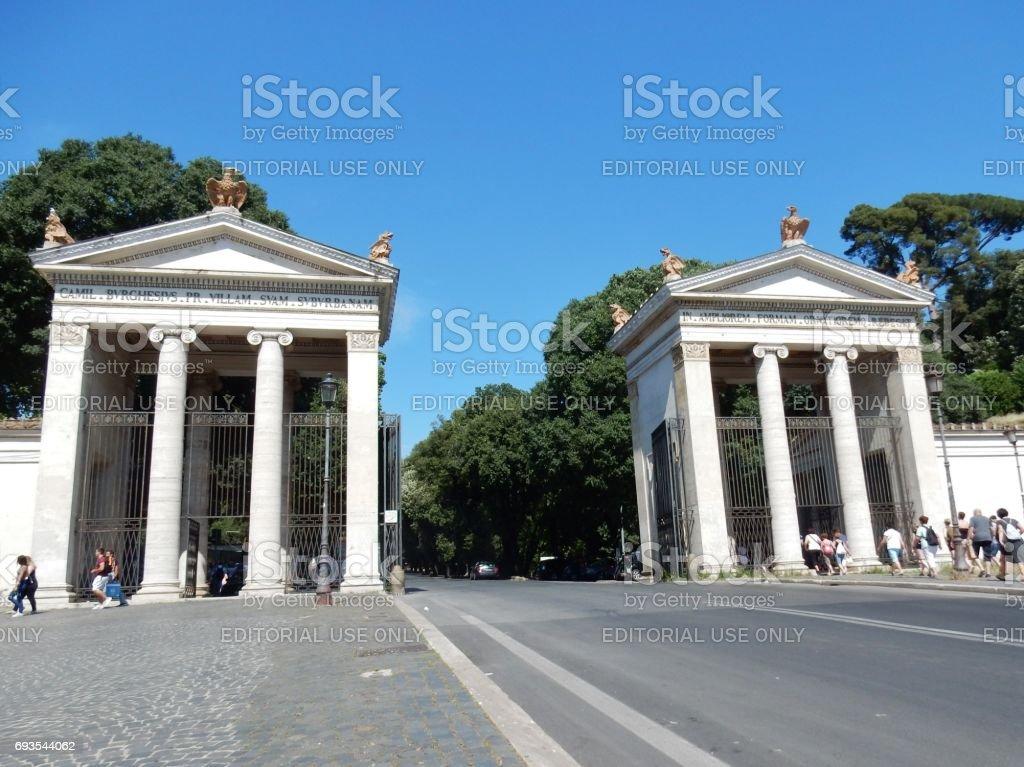 Roma - Accesso a Villa Borghese stock photo