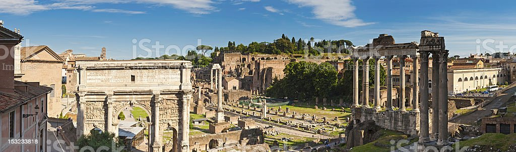 Rome ancient Roman Forum temples tourists Palatine Hill panorama Italy stock photo