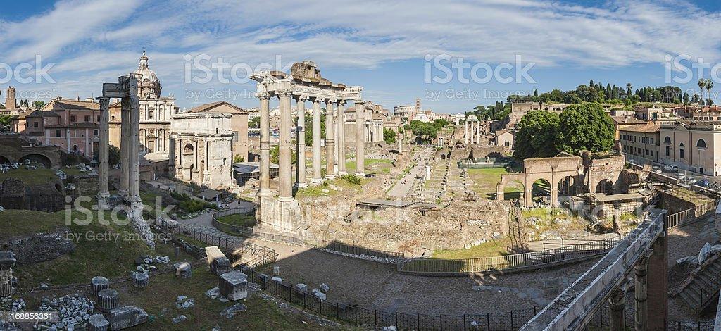 Rome ancient Roman Forum Via Sacra Coliseum panorama Italy stock photo