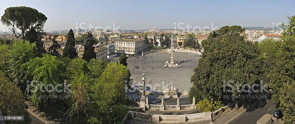 Rome and Piazza del Popolo panaroma stock photo