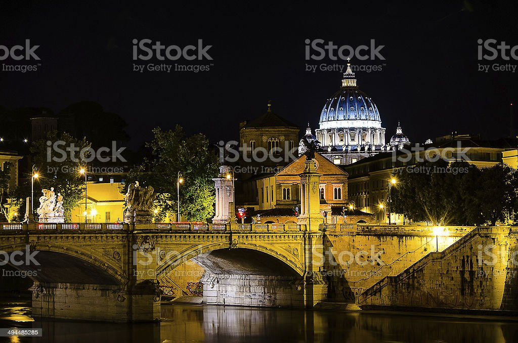 Rome and St Peter's Basilica in the night stock photo