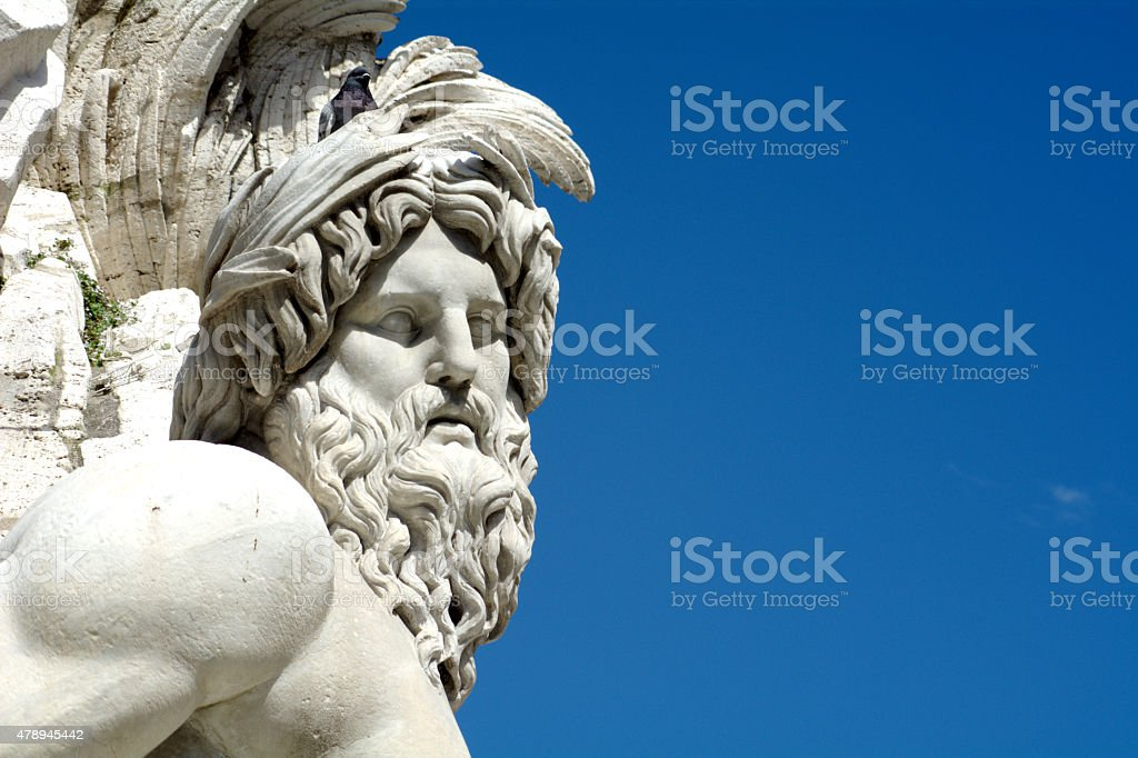 Rome and the statue of Navona Square stock photo
