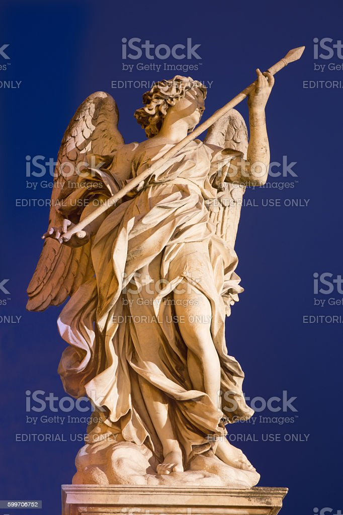 Rome - Angel with the Lance - Ponte Sant'Angelo stock photo