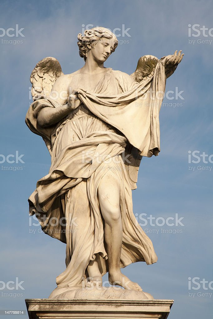 Rome - Angel with the Sudarium from Ponte Sant' Angelo stock photo