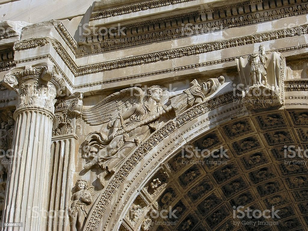Rome: arch of septimus severius (detail) royalty-free stock photo