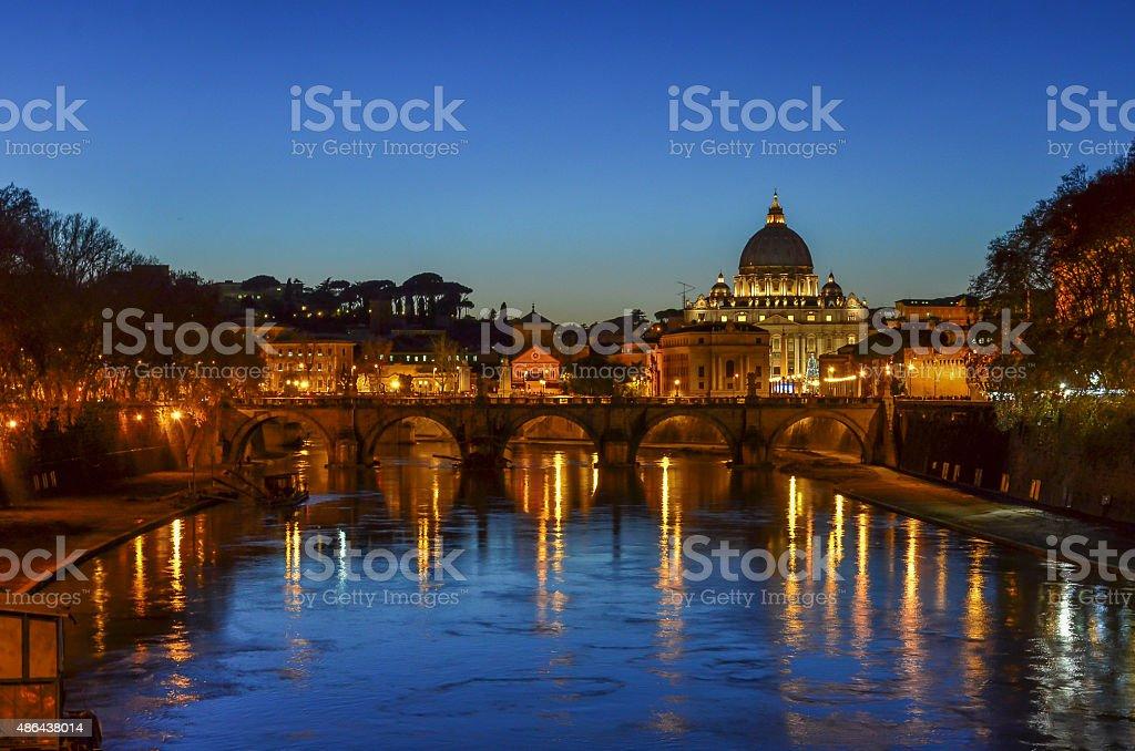 Rome at dusk, Italy stock photo
