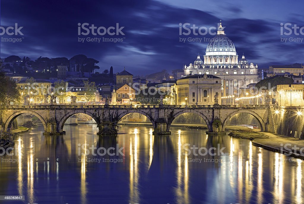 Rome at Dusk: St. Peter's Basilica in reflection stock photo
