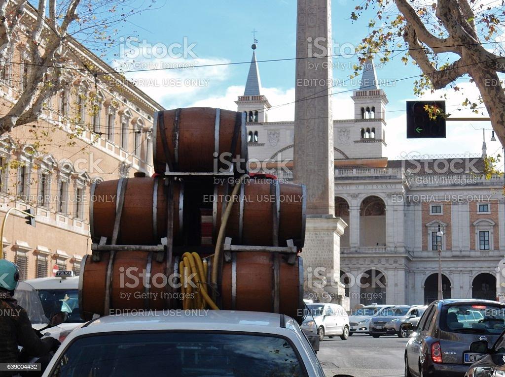 Roma - Carico di botti stock photo