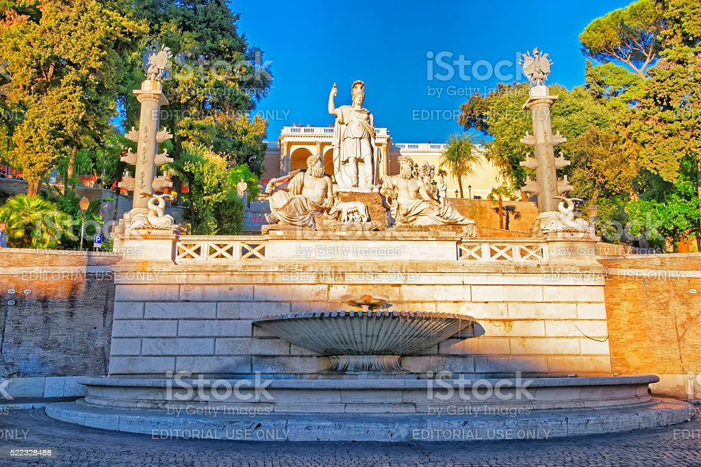 Rome between Tiber and Aniene Fountain in Piazza del Popolo stock photo